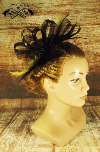 "Fascinator ""Gelbe Feder"""